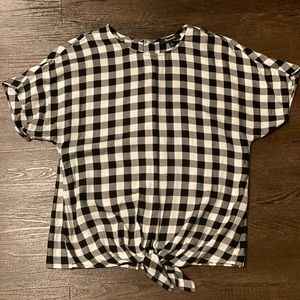 Madewell Buffalo Check Button Back Tie Top